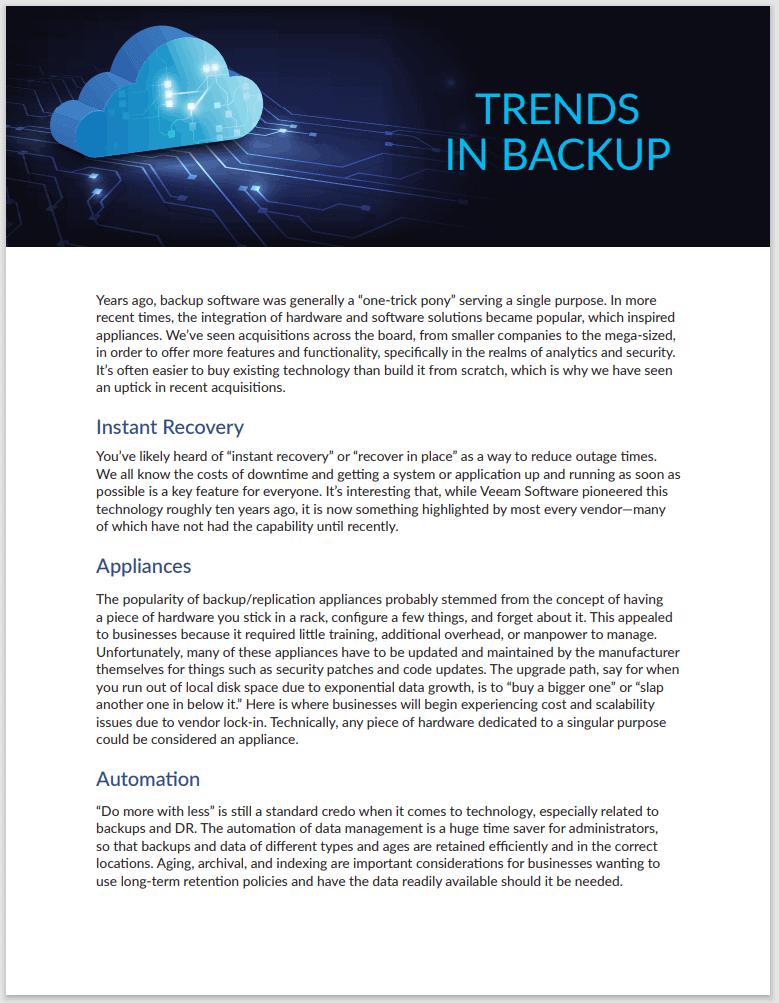 Trends in Backup