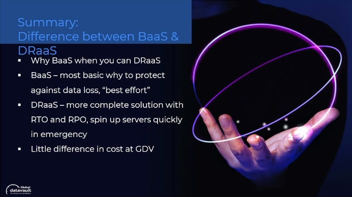 summary of the difference between BaaS and DRaaS